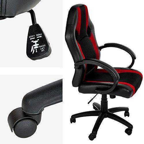creatspaceIT Sedia Gaming Sedia da scrivania Sedia da Ufficio Sedia direzionale Sedia Girevole ergonomica Sedia per Computer Similpelle con poggiatesta e Cuscino in Pelle AM969604